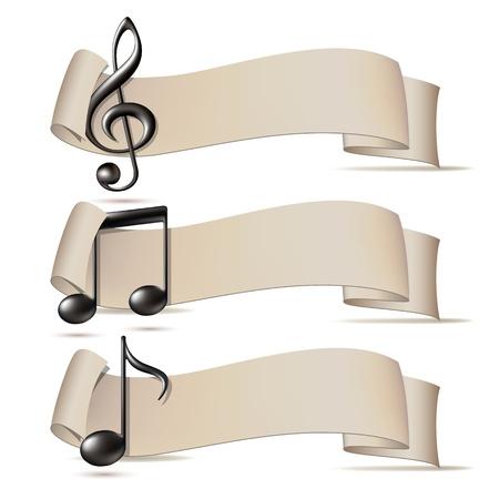 iconos de música: Juego de banderas con los iconos de la m�sica. Ilustraci�n vectorial Vectores