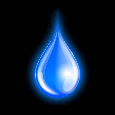 Blue shiny water drop on dark background. Vector illustration