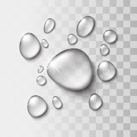 is wet: Transparent water drop on light gray background, vector illustration
