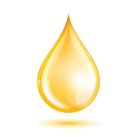 Gota de aceite aislado en el fondo blanco. Ilustración vectorial