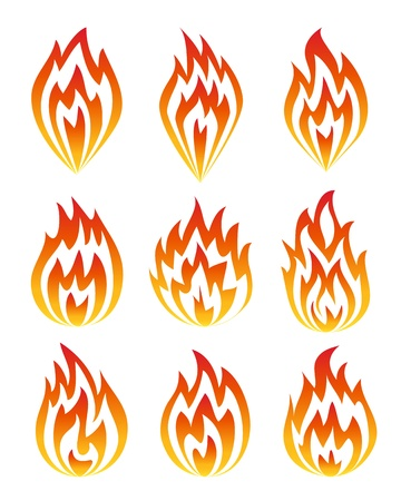 Set of fire icons. Vector illustration Vector