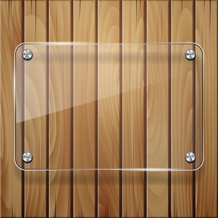 verre: Texture bois avec cadre en verre. Vector illustration Illustration