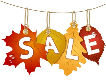 Hanging vector sale with autumn leaves. Vector illustration