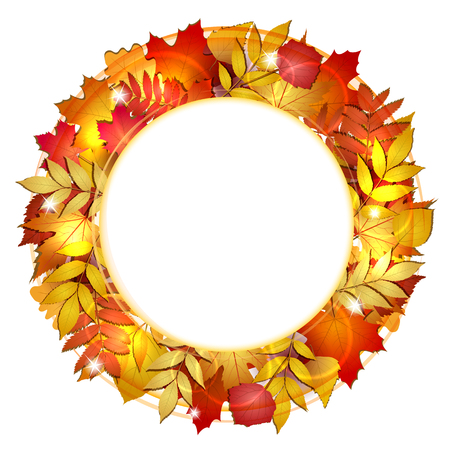 Autumn round banner with red leaves. Vector illustration. Vector