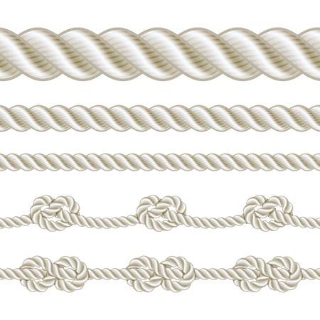 rope vector: Seamless rope and rope with different knots. Vector illustration Illustration