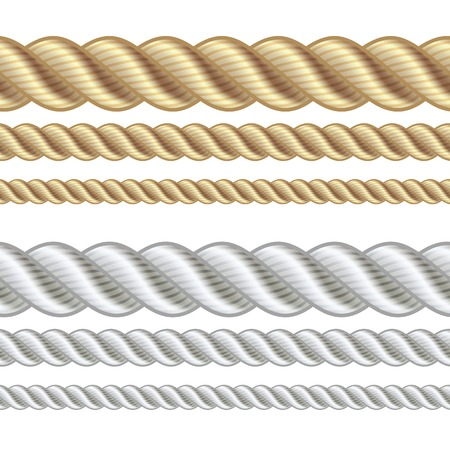 gold string: Set of different thickness ropes isolated on white, vector illustration.