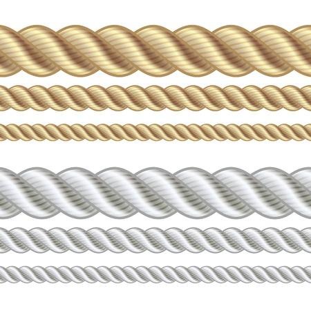 Set van verschillende dikte touw geïsoleerd op wit, vector illustratie.