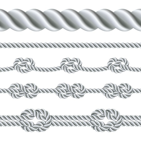lines: Seamless rope and rope with different knots. Vector illustration Illustration