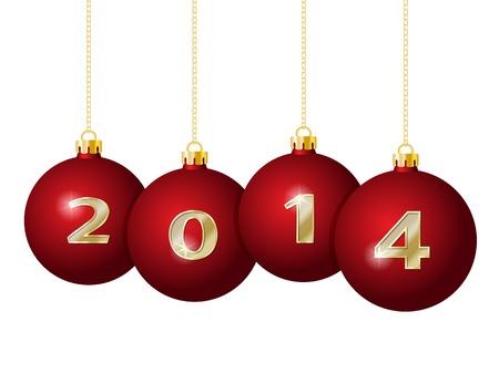 Bolas rojas de la Navidad 2014 colgando de cadenas de oro Foto de archivo - 24062475
