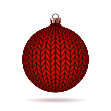 Red Knitted Christmas Ball. Vector illustration. Stock Vector - 24062481