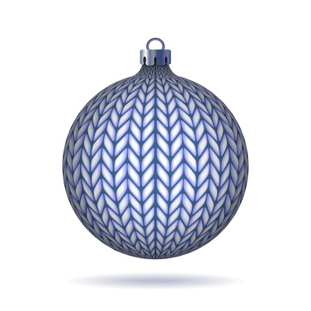Blue Knitted Christmas Ball. Vector illustration. Vector