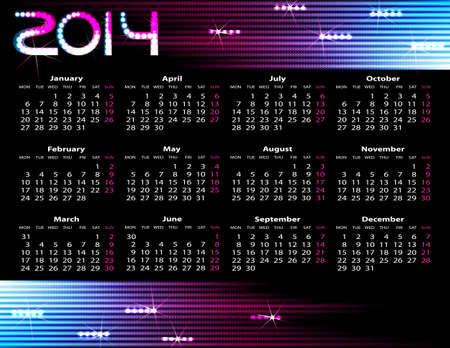 2014 year calendar. Vector illustration on black background Vector