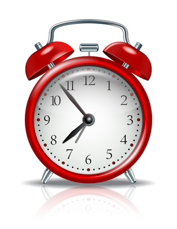 Red alarm clock on white  Vector