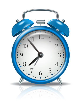Blue alarm clock on white  Vector