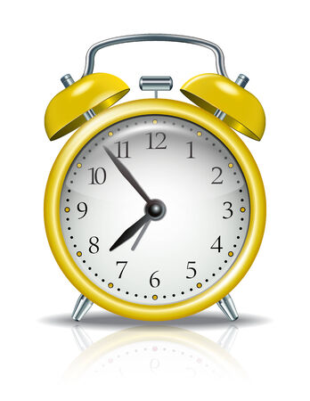 Yellow alarm clock on white background Vector