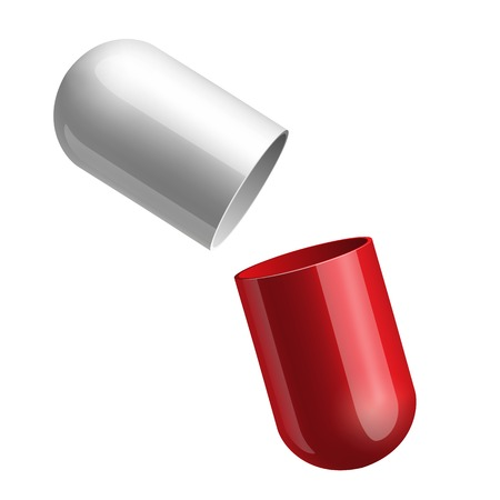 doses: Copyspace medicine capsule pill case opened in two glossy halfs red and blue isolated. Vector illustration