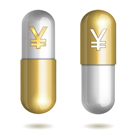 hospital expenses: Capsule Pills with Yen Signs. Vector illustration