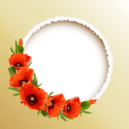 Red poppies floral round frame, vector illustration Vector