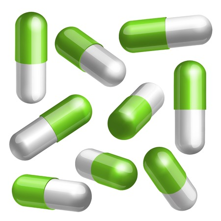 Set of green and white medical capsules in different positions Vector illustration