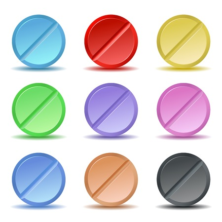 Set of color pill icons. Vector illustration Vector
