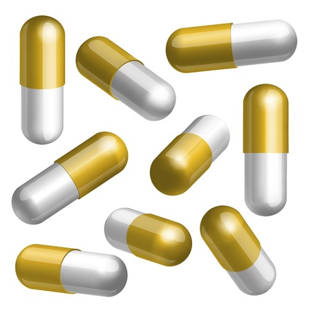 paracetamol: Set of golden and white medical capsules in different positions Vector illustration