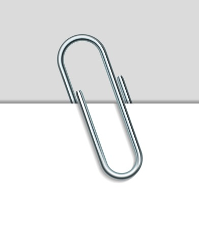 Metal paper clip and paper isolated on white background. Vector Illustration Vector