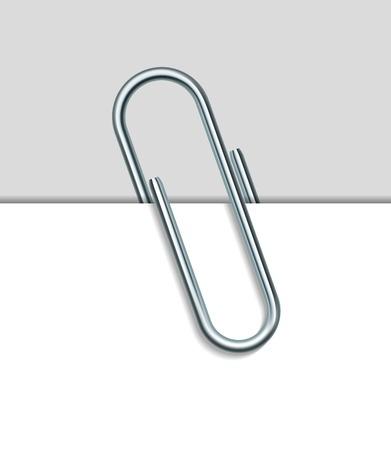 trombone en métal et papier isolé sur fond blanc. Vector Illustration