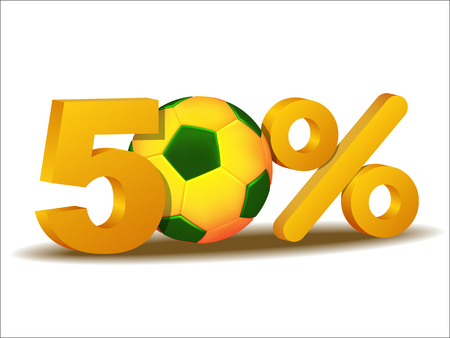 sellout: fifty percent discount icon with Brazil soccer ball