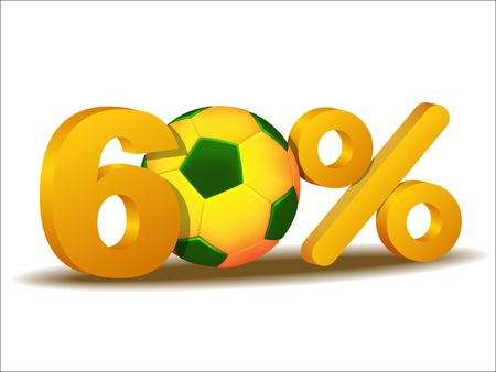 sixty: sixty percent discount icon with Brazil soccer ball