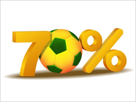 seventy: seventy percent discount icon with Brazil soccer ball