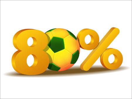 achtzig: achtzig Prozent Rabatt-Symbol mit Brasilien Fu�ball