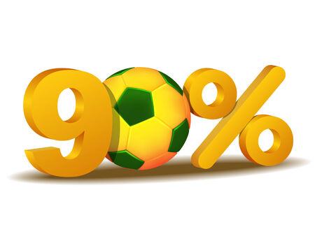 ninety: ninety percent discount icon with Brazil soccer ball Illustration