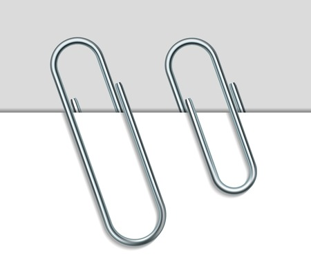 Metal paper clip and paper isolated on white background  Vector