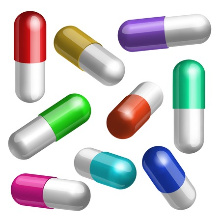 Set of colorful medical capsules in different positions