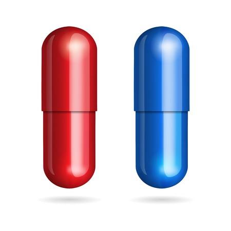 Blaue und rote Pillen auf weißem Hintergrund