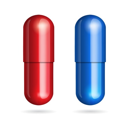 Blue and red pills on white background