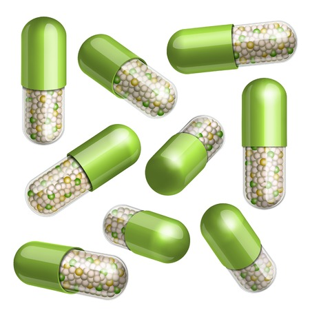 sickness: Medical green  capsule with granules in different positions  Vector illustration Illustration