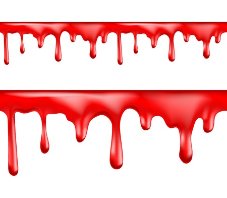Red blood drips seamless patterns on white background illustration Vector