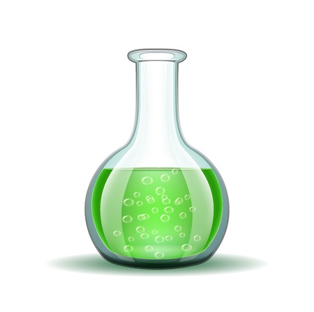 pharmaceutical industry: Chemical laboratory transparent flask with green liquid isolated on white illustration