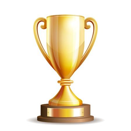 Złote trofeum puchar wyizolowanych na białym tle