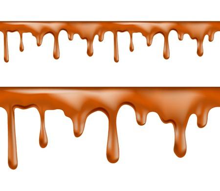 caramel: Sweet caramel drips seamless patterns on white background