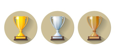 competitive sport: gold, silver and bronze winners cup