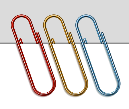Set of colored paper clips illustration