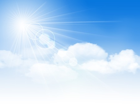 Blue sky with clouds and sun illustration Vettoriali