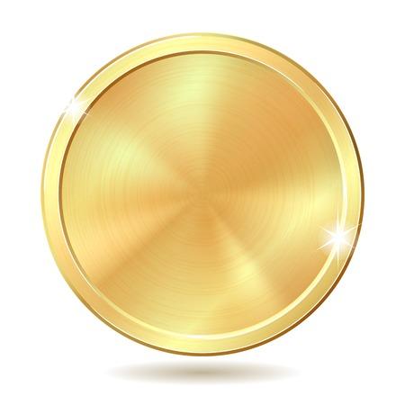 Gold coin: Đồng xu minh họa vàng bị cô lập trên nền trắng