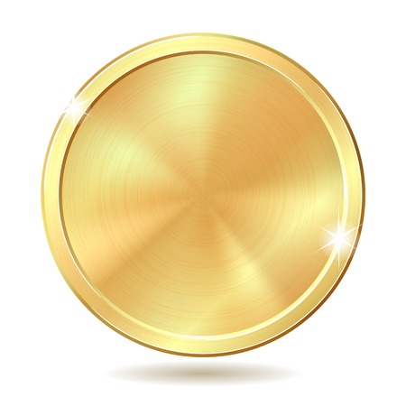 Gold coin illustration isolated on white background