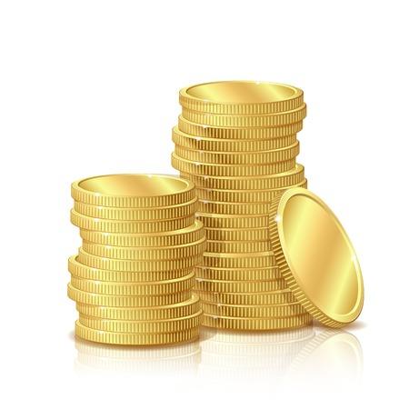 cash money: Pila de monedas de oro, aislado en fondo blanco