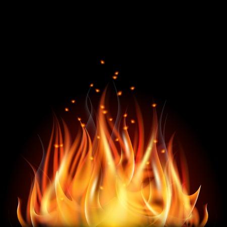 Burning fire flame on black background illustration