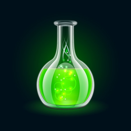 Transparent flask with magic green liquid on black background