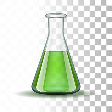 Chemical laboratory transparent flask with green liquid Ilustração